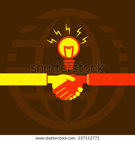 business deal with new idea or work with new idea design concept vector - stock vector