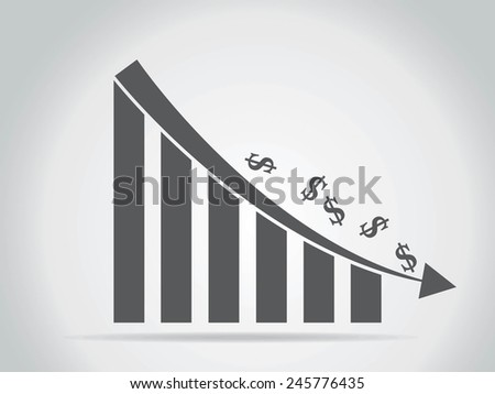 business decline graph - stock vector