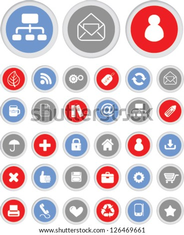 business design buttons, icons set, vector