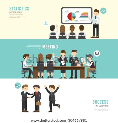 Business design conference concept people set presentation, training, meeting, success, agreement or partnership. with flat icons. vector illustration - stock vector
