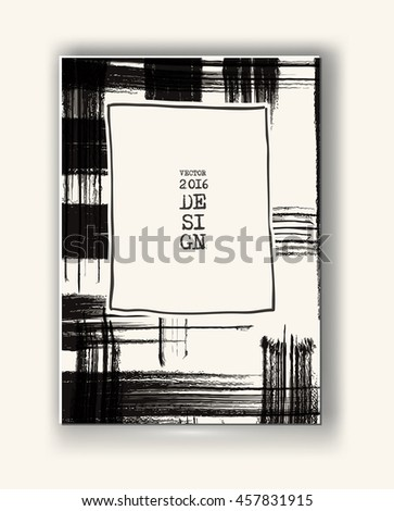 Business design template. Abstract grunge pattern checkered texture. Brochure with Monochrome Cell Background. Wallpaper with empty space for your text. Vector hand drawn plaid illustration - stock vector