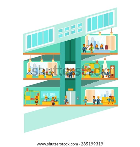 Business design template with many people working at office. Flat vector illustration - stock vector