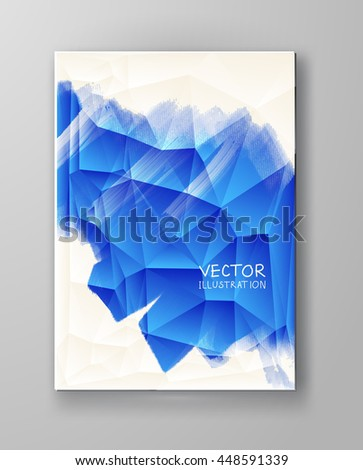 Business design templates. Brochure with Blue Paint Backgrounds. Abstract Modern Decoration. Painting. Wallpaper with empty space for your text. Brochure set. Vector illustration. - stock vector