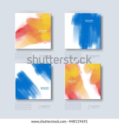 Business design templates set. Brochure with Color Paint Backgrounds. Abstract Modern Vector Illustration. - stock vector