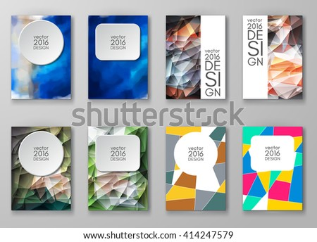 Business design templates set. Brochure with Multicolored Backgrounds. Abstract Modern Vector Illustration. - stock vector