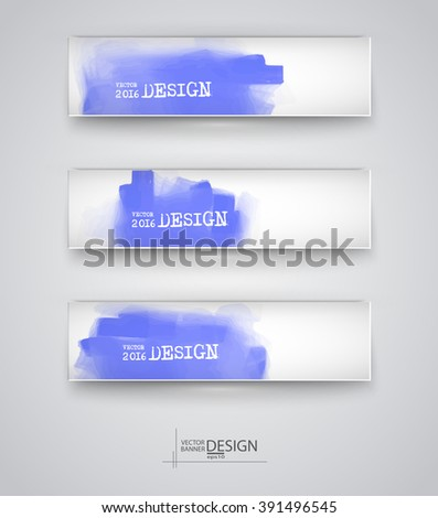 Business design templates. Set of Banners with Colored Backgrounds. Paint Abstract Modern Decoration. Vector Illustration.