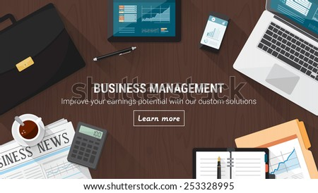 Business desktop with documents, computer and tools, financial occupation and stock market concept - stock vector