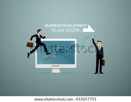 Business development.Businessman.Business success.Business team.Team work. - stock vector