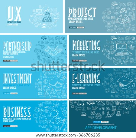 Business Development concept background wih Doodle design style :finding solution, brainstorming, creative thinking, infographics. Modern style illustration for web banners, brochure and flyers. - stock vector