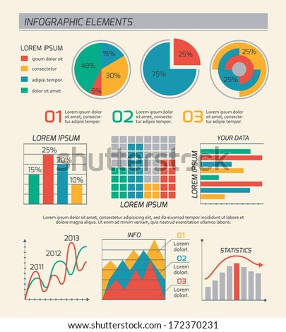 Business diagrams template layout, charts and graphs isolated vector illustration - stock vector