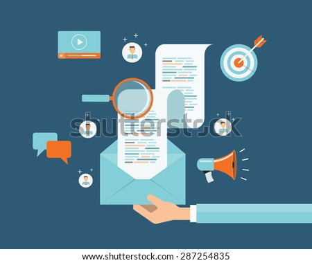 business digital content and email marketing concept background .social network  connection .web banner - stock vector