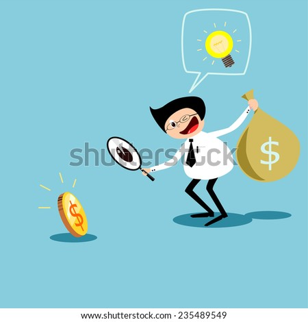 Business dollar under magnifying glass.vector - stock vector