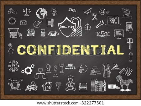Business doodle about confidential on chalkboard. - stock vector