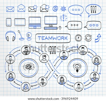 Business doodle concept on paper background. Vector hand drawn sketch icons set in black and blue colors. Team work. Connecting people.  - stock vector