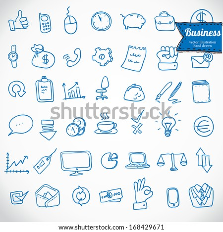 Business doodle icon set, vector illustration hand drawn - stock vector