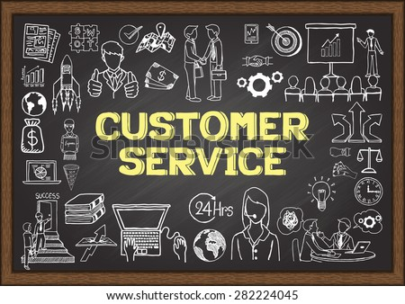 Business doodles about customer service on chalkboard. - stock vector