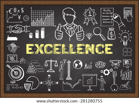 Business doodles about excellence on chalkboard. - stock vector