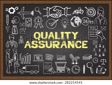 Business doodles about quality assurance on chalkboard. - stock vector