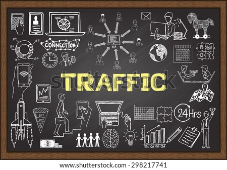 Business doodles about Web traffic on chalkboard. - stock vector