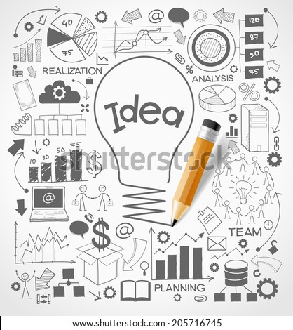 Business doodles icons set. Concept of productive business ideas. Lightbulb with business icon and pencil. File is saved in AI10 EPS version. This illustration contains a transparency   - stock vector