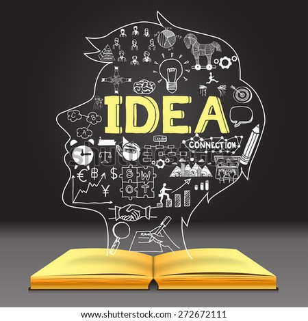 Business doodles in human head shape on opened notebook with the big letters IDEA with dark background. - stock vector
