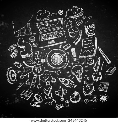 Business doodles on a blackboard. Concept of idea. Vector illustration - stock vector