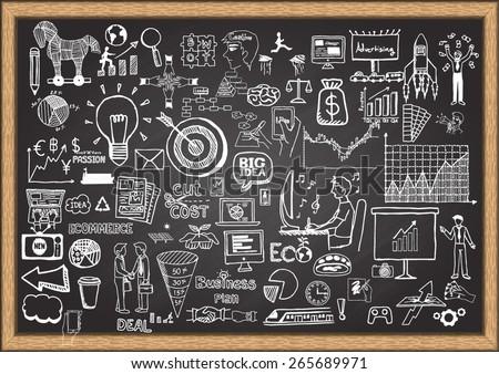 Business doodles on chalkboard. - stock vector