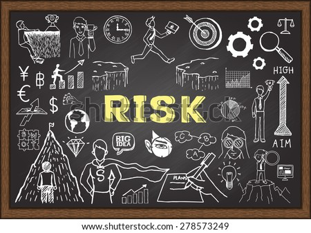 Business doodles on chalkboard with the concept of risk. - stock vector