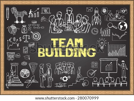 Business doodles on chalkboard with the concept of TEAM BUILDING. - stock vector