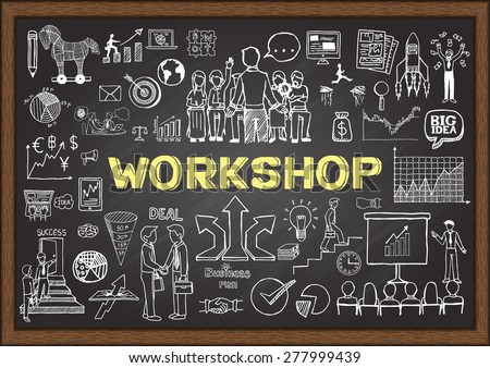 Business doodles on chalkboard with workshop concept. Hand drawn business plan on chalkboard. - stock vector