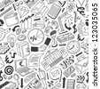 Business doodles - seamless pattern - stock photo
