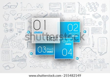 Business doodles Sketch set : infographics elements isolated, vector shapes. It include lots of icons included graphs, stats, devices,laptops, clouds, concepts and so on. - stock vector
