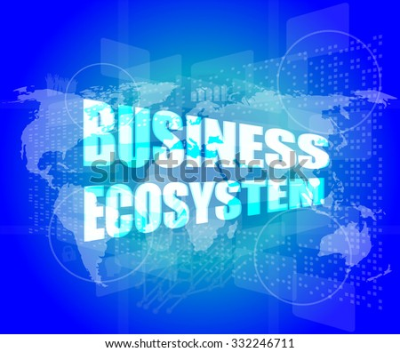 business ecosystem words on digital touch screen vector illustration - stock vector