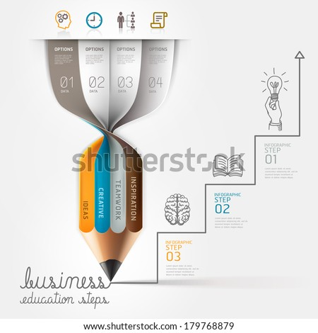 Business education pencil Infographics step option. Vector illustration. can be used for workflow layout, banner, diagram, number options, step up options, web design. - stock vector