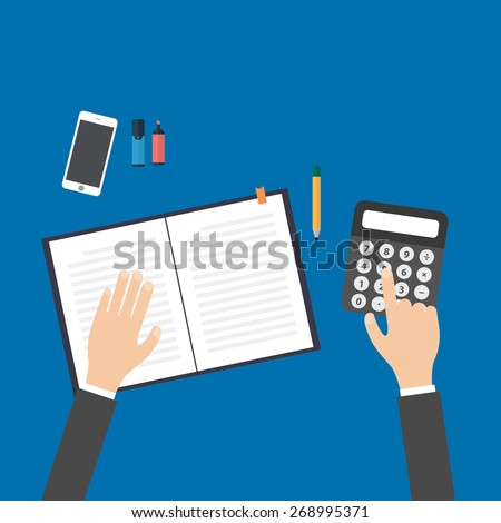 business, education, people and technology concept - hands with calculator, pen and notebook - stock vector