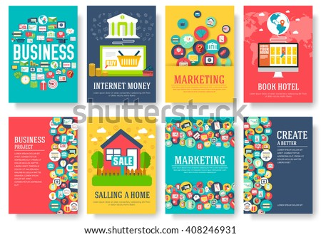Business elements cards set. Marketing template of flyear, magazines, book cover, banners, booklet. idea infographic concept background. Layout illustrations modern pages with typography text - stock vector