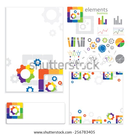 business elements on a white background