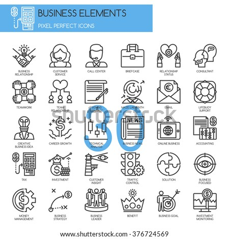 Business Elements, thin line icons set - stock vector