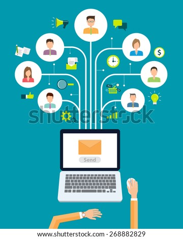 business email marketing content connection on people background.social network communication - stock vector