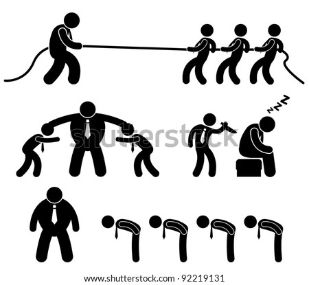 Business Employee Worker Situation in Office Workplace Icon Pictogram - stock vector