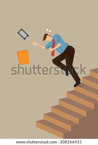 Business executive losing balance and falling down the steps on staircase. Vector illustration on work safety concept isolated on neutral color plain background. - stock vector