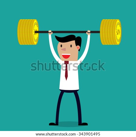 Business executive power lifting barbell made of golden coin.  Vector illustration for business financial strength and financial health metaphor. - stock vector