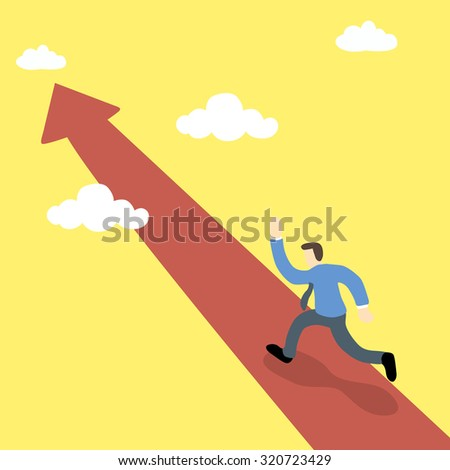 business executive running on on the pathway of red arrow toward the sky