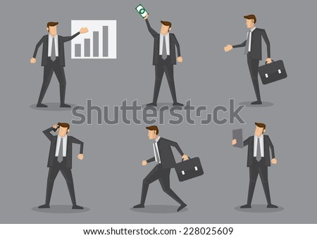 Business executive with chart, money, briefcase, mobile phone and digital tablet. Set of six vector characters isolated on grey plain background - stock vector