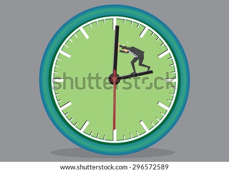 Business executive working hard to push back the minute hand on huge clock face. Creative vector cartoon illustration on time concept isolated on grey background. - stock vector