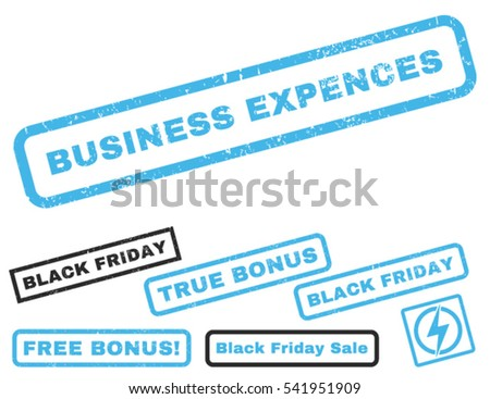Business Expences rubber seal stamp watermark with bonus design elements for Black Friday sales. Vector blue and gray stickers.