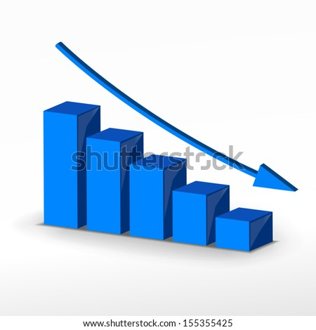 Business failure graph and arrows - stock vector