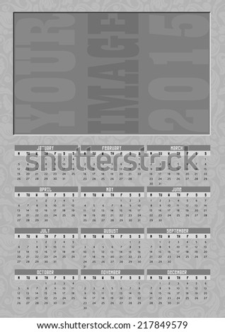 Business, family or personal yearly calendar, 2015. Week starts on Monday. - stock vector
