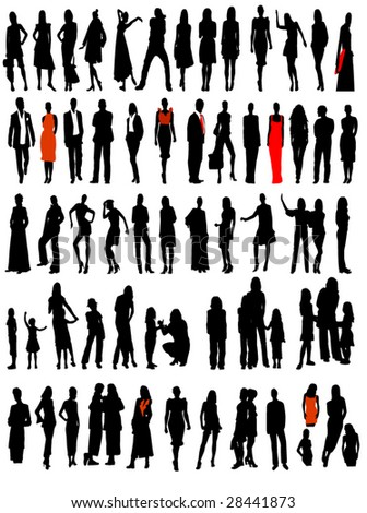business, fashion variety silhouettes of men, women and children
