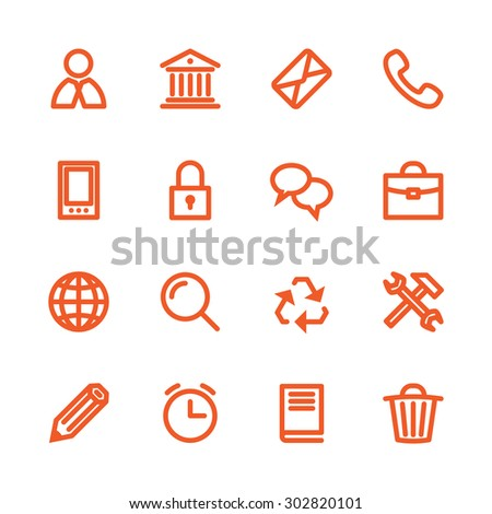 Business Fat Line Icon set for web and mobile. Modern minimalistic flat design elements of customer service, client support, success business management, work tools, banking services, office equipment - stock vector